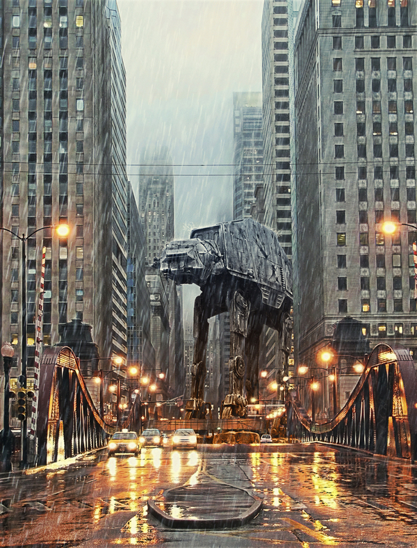 AT-AT in Chicago - Amazing Star Wars Illustration by Tony Bamber
